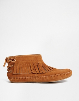 ASOS AMONGST US Fringe Suede Booties £38