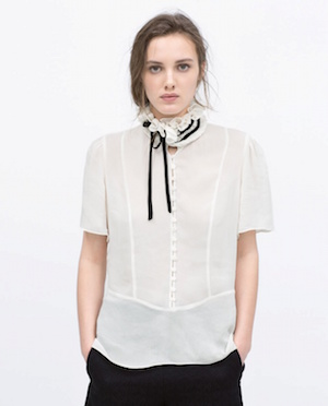 Frilled tie-neck blouse £39.99 at Zara
